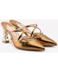 Sophia Webster Bijou 85 Leather Mules With Embellished Heel - Multicolor