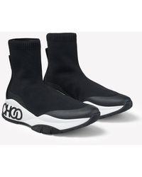 Jimmy Choo Raine Sockf Stretch-knit Embossed Logo High-top Trainers Eu 35 - Black