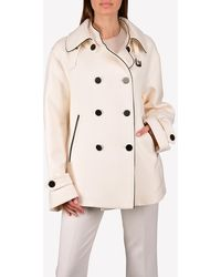 Tom Ford Wool Double-breasted Twill Peacoat - White