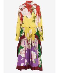 Valentino - Flying Flowers Print Stretch Twill Midi Dress- Delivery In 3-4 Weeks Wrtwit_it 42 - Lyst