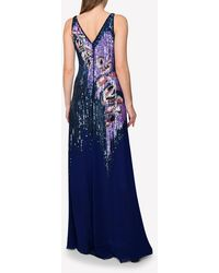 Emilio Pucci Heliconia Sequin Shadow Embellished Gown It 42 - Purple