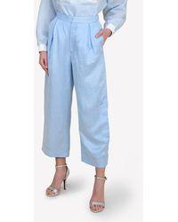 Bimba Y Lola Linen-blend Wide-leg Cropped Trousers Fr 38 - Blue