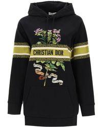 Dior Oversized Bible Flower Print Cotton Hooded Sweatshirt S - Black