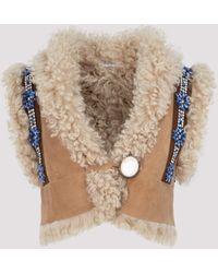 Miu Miu Shearling Suede Leather Cropped Jacket It 40 - Brown