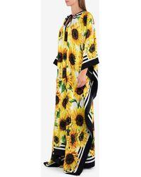 Dolce & Gabbana Silk Sunflower Print Kaftan Maxi Dress - Yellow