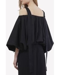 Goen.J Voluminous Puff-sleeved Top In Cotton Blend M - Black