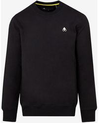 Moose Knuckles Grayfield Pullover Crew Sweatshirt In Cotton S - Black