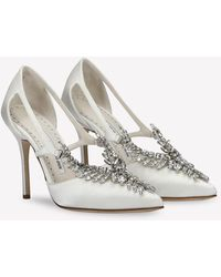 Manolo Blahnik Lala 105 Satin Crystal Embellished Pumps With Cut-outs - White