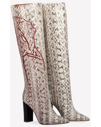Malone Souliers Harper Embroidered Elaphe Knee Boots - Natural