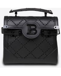 Balmain B-buzz 23 Top Handle Bag In Calf Leather - Black