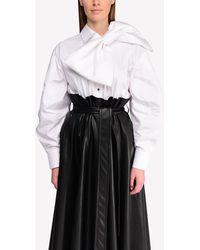 ANOUKI Cotton Shirt With Removable Bow - White