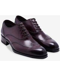 Tom Ford Austin Leather Wingtip Oxford Shoes Eu 44 - Purple