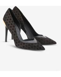 Balmain Phoebe 100 Monogram Court Shoes In Suede - Black