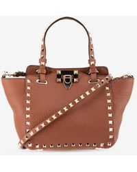 Valentino Small Rockstud Tote Bag In Grained Calfskin - Brown