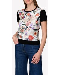 Ferragamo Wool T-shirt With Valzer Print In Silk - Black