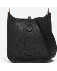 Hermès Mini Evelyne 16 In Black Taurillon Clemence