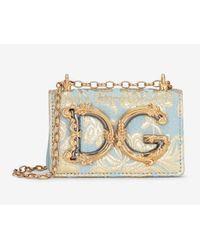 Dolce & Gabbana Micro Dg Girls Shoulder Bag In Floral Lamé Calfskin - Blue