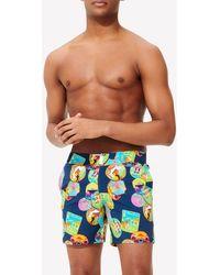 Vilebrequin Merise Indian Resorts Print Swim Shorts With Button Closure - Blue