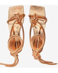 Bottega Veneta Knotted Strap Flat Sandals In Metallic Goatskin