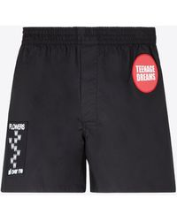 Raf Simons Boxer Shorts With Woven Patch Details It 46 - Black