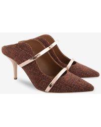 Malone Souliers Maureen 70 Herringbone Mule Court Shoes - Orange