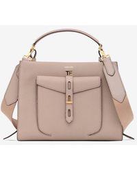Tom Ford Calf Leather T Twist Medium Top Handle Bag - Natural