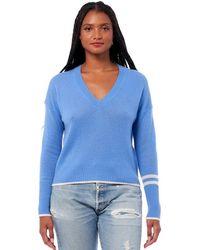 360 Sweater Janie Cashmere V Neck Jumper - Blue