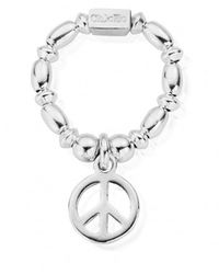 ChloBo Rice & Disc Ring With Peace Charm - Blue