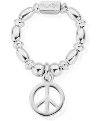 ChloBo - Rice & Disc Ring With Peace Charm - Lyst