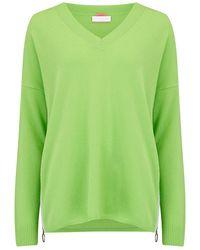 Cocoa Cashmere Side Zip V Neck Cashmere Jumper - Green