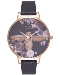 Olivia Burton Embroidered Dial Watch - Black
