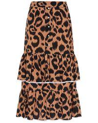 Hayley Menzies Midi Frill Silk Skirt - Brown