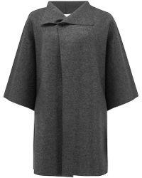 Harris Wharf London Kimono Mantle Coat - Gray