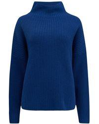 360 Sweater Beck Funnel Neck Cashmere Jumper - Blue