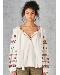 Star Mela Rilla Embroidered Blouse - Natural