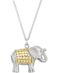 Anna Beck Elephant Pendant Charity Necklace - Metallic