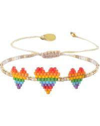 Mishky Rainbow Triple Heartsy Beaded Bracelet - Multicolour