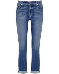 PAIGE Brigitte High Rise Slim Fit Boyfriend Jeans - Blue