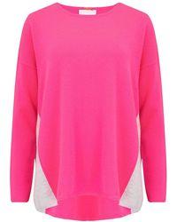 Cocoa Cashmere Colour Block Side Swing Cashmere Jumper - Pink