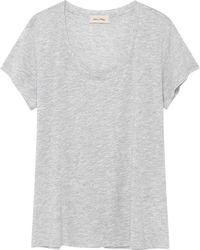 American Vintage Jacksonville U Neck Short Sleeve Tee - Grey