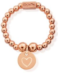 ChloBo - Mini Ball Ring With Heart In Circle - Lyst