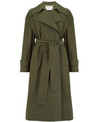 Harris Wharf London Oversized Water Repellent Trench Coat - Green