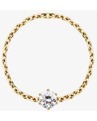 RedLine 18ct Yellow Gold And Diamond Chain Ring - Metallic