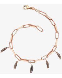 Kismet by Milka 14ct Rose Gold And Diamond Feather' Bracelet - Metallic