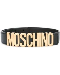b49f57f1bac Lyst - Moschino Logo Plaque Belt in Green