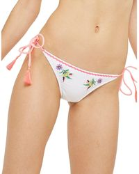 TOPSHOP - Embroidered Bikini Bottoms - Lyst
