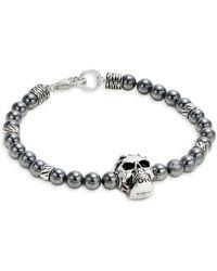 Effy - Sterling Silver And Hematite Skull Bracelet - Lyst