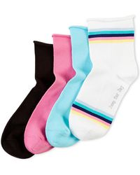 Hue - Four-pack Roll Top Shortie Socks - Lyst