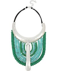 Robert Lee Morris - Santa Fe Crystal, Turquoise And Leather Bib Necklace - Lyst