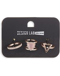 Lord & Taylor - Rose Gold Stone And Crystal Ring Set - Lyst